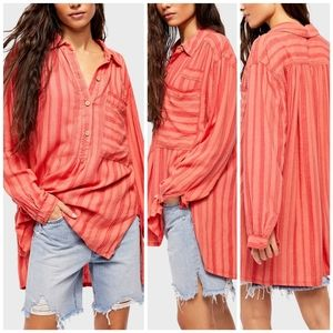 🆕 Free People coral striped top size S